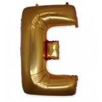Фольгированная Буква Е золото (102 см)